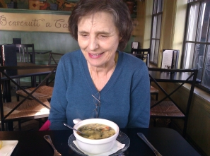 January 2012- My sister with Wedding Soup on her Birthday