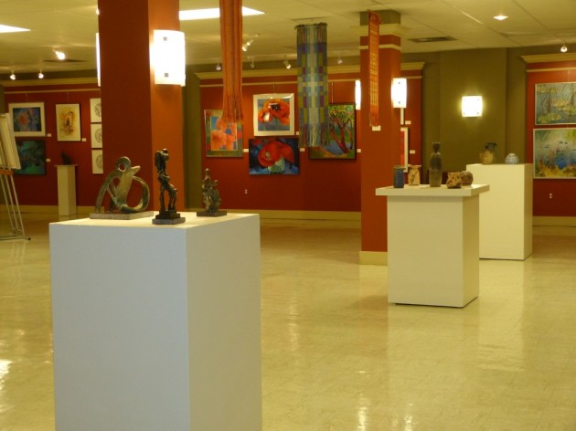Riverside Arts Center, a glimpse at the gallery for Mary Bachman Retrospective.